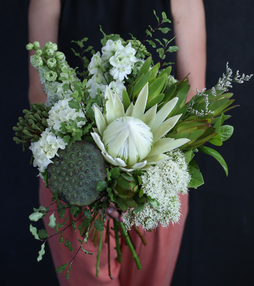 Seasonal native bouquet crisp white and green wollongong flowers neutral and elegant bouquet of mixed seasonal native blooms a perfect choice for when you izmirmasajfo
